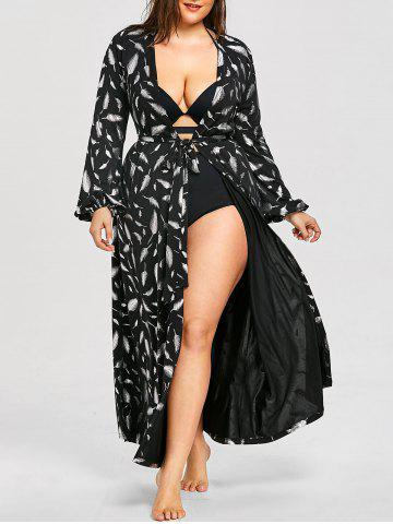 Cheap Plus Size Lantern Sleeve Maxi Cover Up