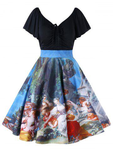 Chic Plus Size Butterfly Sleeve Painting Vintage Dress