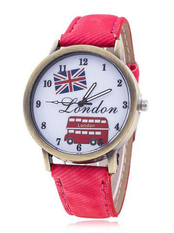 Latest London Face Faux Leather Watch