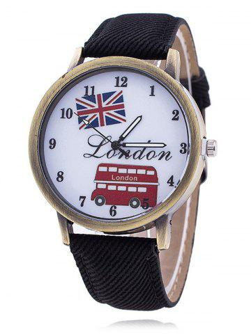 Discount London Face Faux Leather Watch