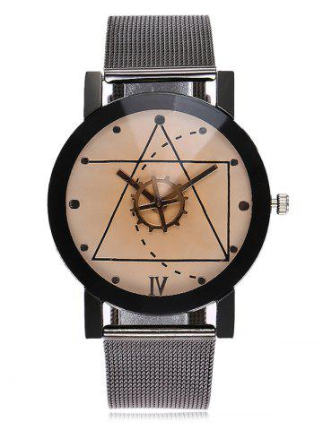 Chic Geometric Face Alloy Mesh Strap Watch