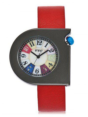 Faux Leather Strap Turnplate Face Montre