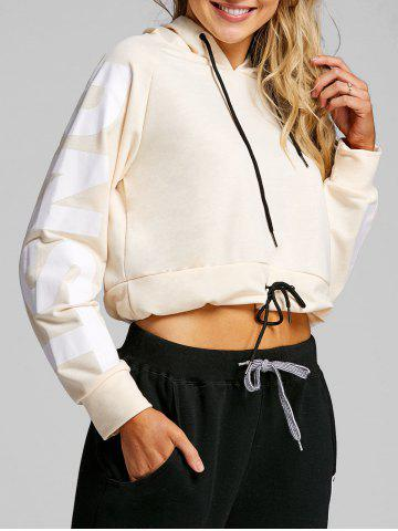 Drawstring Graphic Cropped Hoodie
