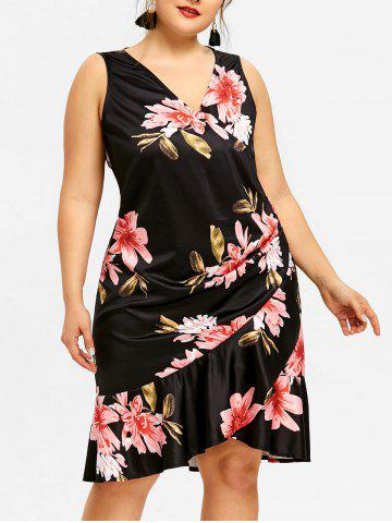 Sale Plus Size Printed Plunge Dress