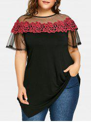 Plus Size See Thru Embroidery Appliqued Asymmetric T-shirt -