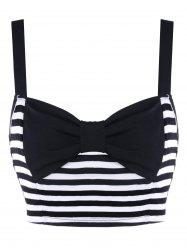 Bowknot Striped Crop Tank Top -