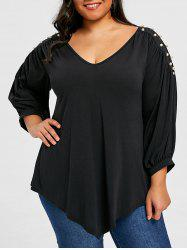 Plus Size Beading Decorated V Neck T-shirt -