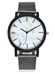 Alloy Mesh Strap Marble Face Watch -