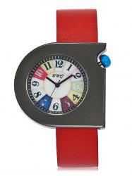 Faux Leather Strap Turnplate Face Montre -