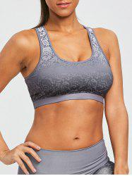 Ombre Brocade Print Padded Active Sports Bra -