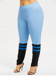 Plus Size Striped Sports Leggings -