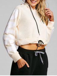 Drawstring Graphic Cropped Hoodie -
