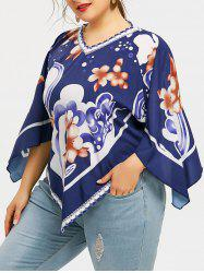 Plus Size Raglan Sleeve Flower Print T-shirt -