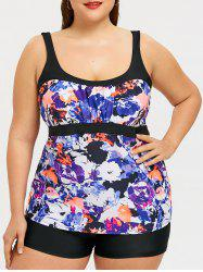Plus Size Flower Abstract Print Swim Top -