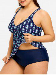 Skirted Plus Size Print Tankini Set -