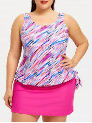 Plus Size Print Skirted Tankini Set -