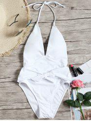 Low Cut Backless One Piece Swimsuit -