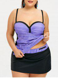 Two Tone Plus Size Skirted Push Up Tankini -