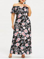 Plus Size Floral Off The Shoulder Maxi Dress -