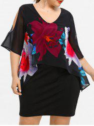Plus Size Floral SheathCapelet Dress -