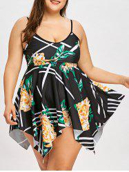 Plus Size Floral Handkerchief Hem Skirted Tankini Set -