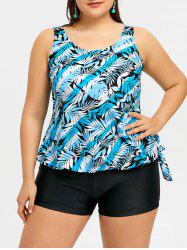 Leaves Print Plus Size Blouson Boyshort Tankini -