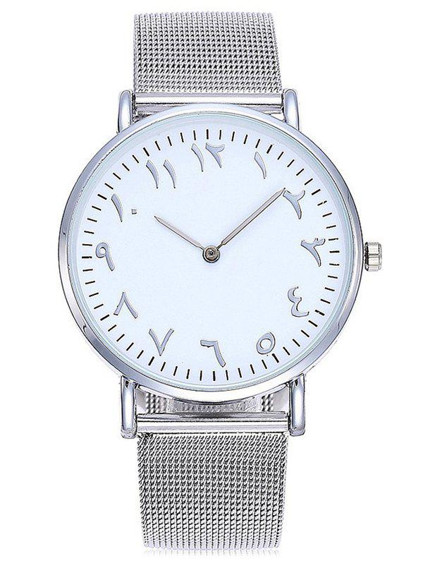 Chic Round Dail Mesh Stainless Steel Band Wrist Watch