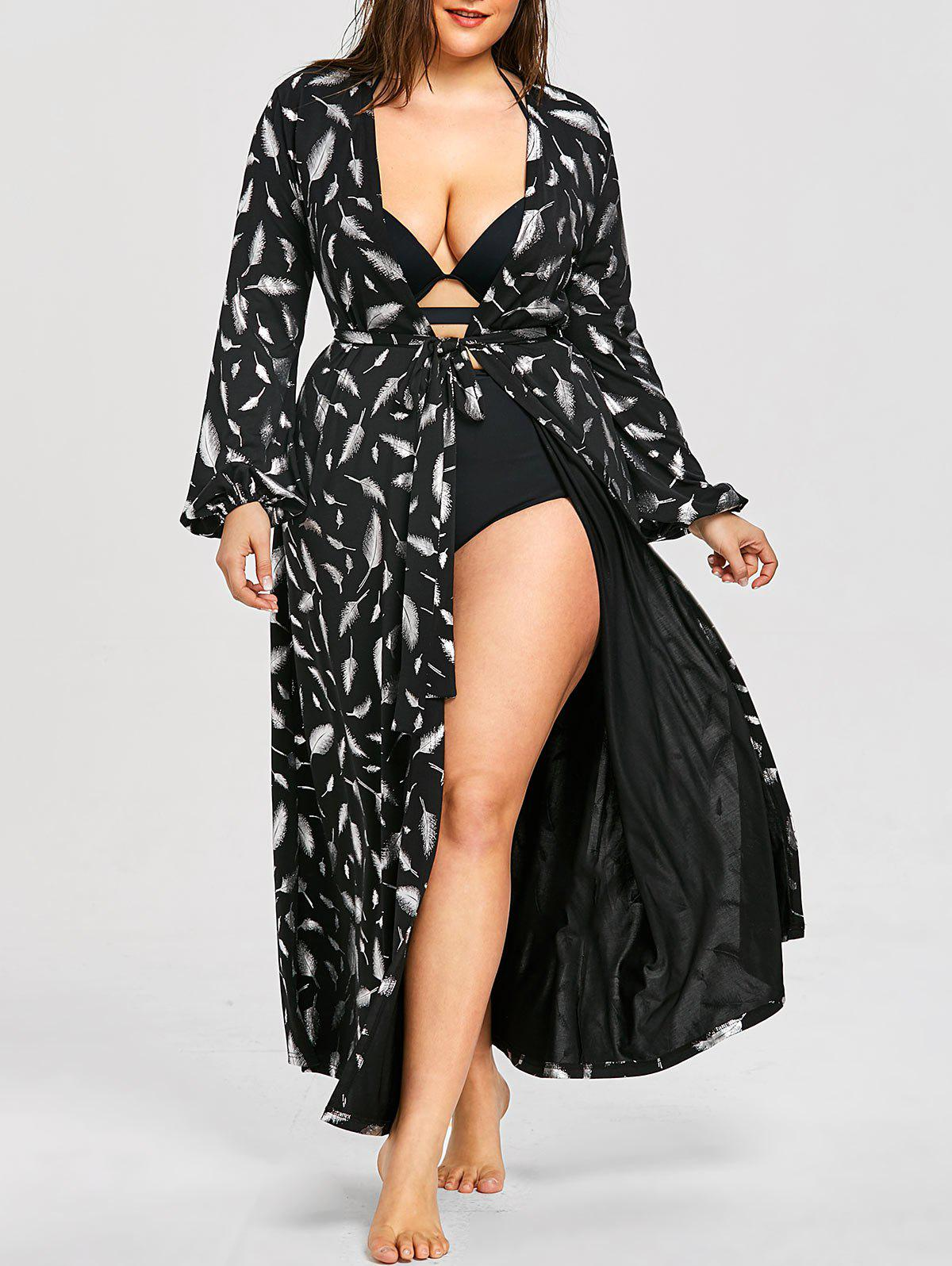 Fancy Plus Size Lantern Sleeve Maxi Cover Up