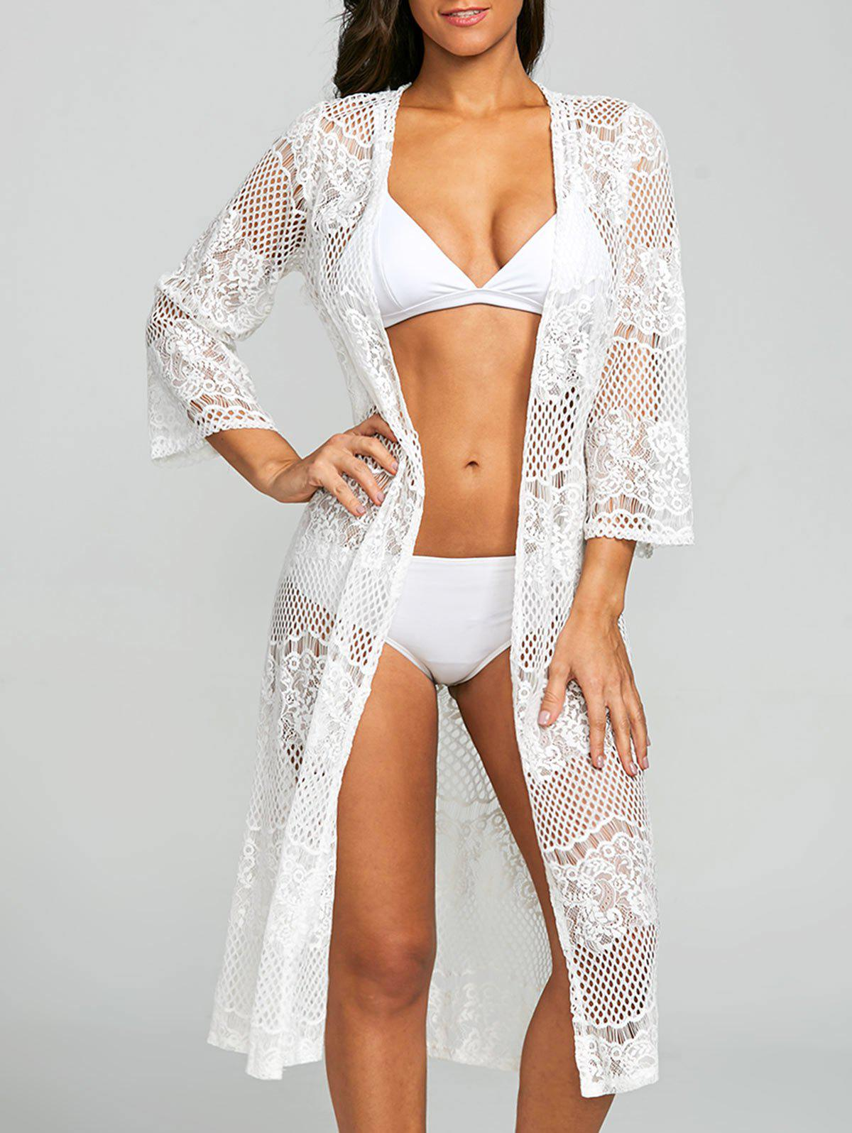 Outfit Lace See Thru Collarless Cover Up
