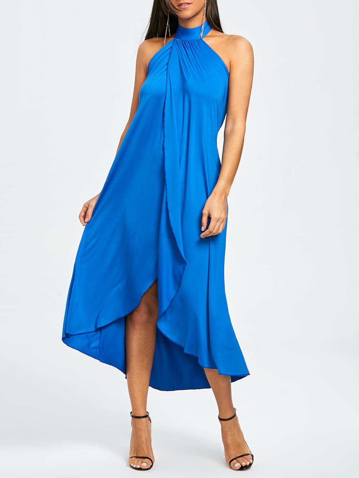 Fashion Backless Halter Slit Beach Cover-up Dress