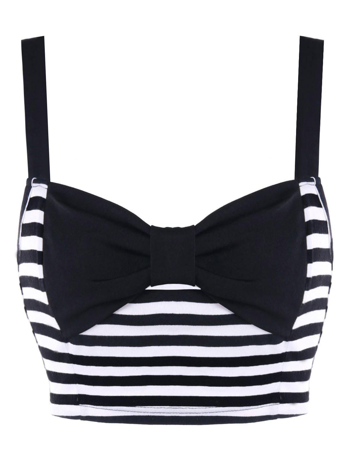 Fancy Bowknot Striped Crop Tank Top