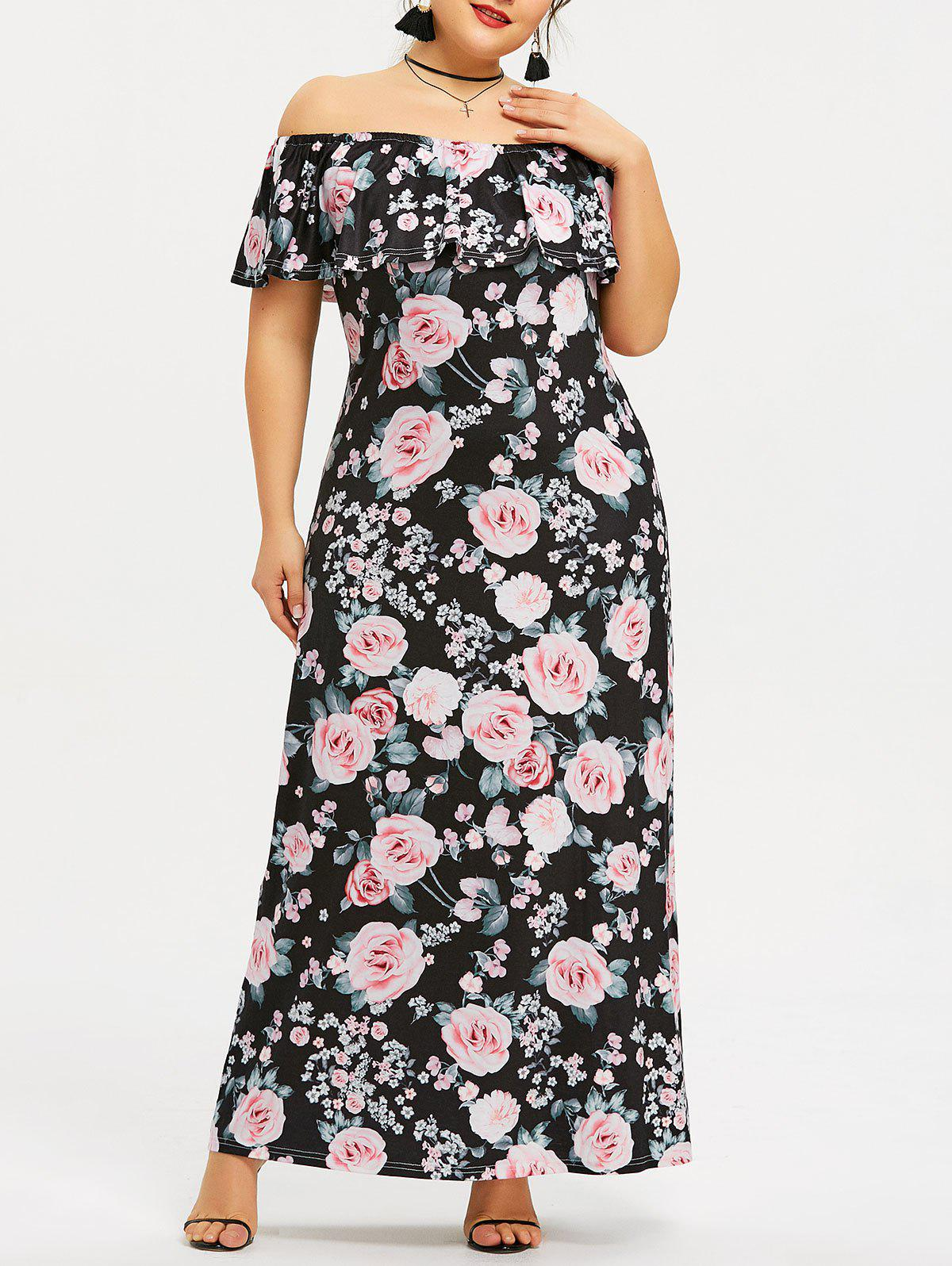 Fashion Plus Size Floral Off The Shoulder Maxi Dress