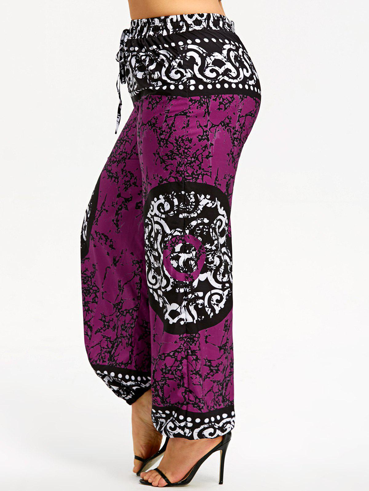 Latest Plus Size Drawstring Mandala Graphic Harem Pants