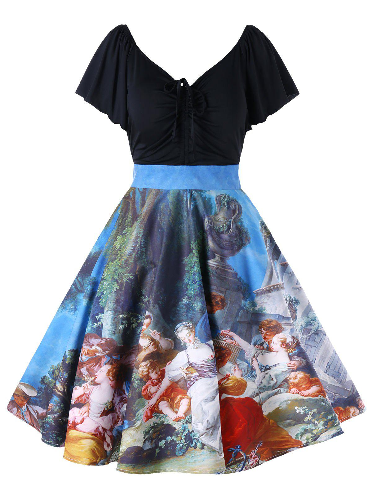 Latest Plus Size Butterfly Sleeve Painting Vintage Dress