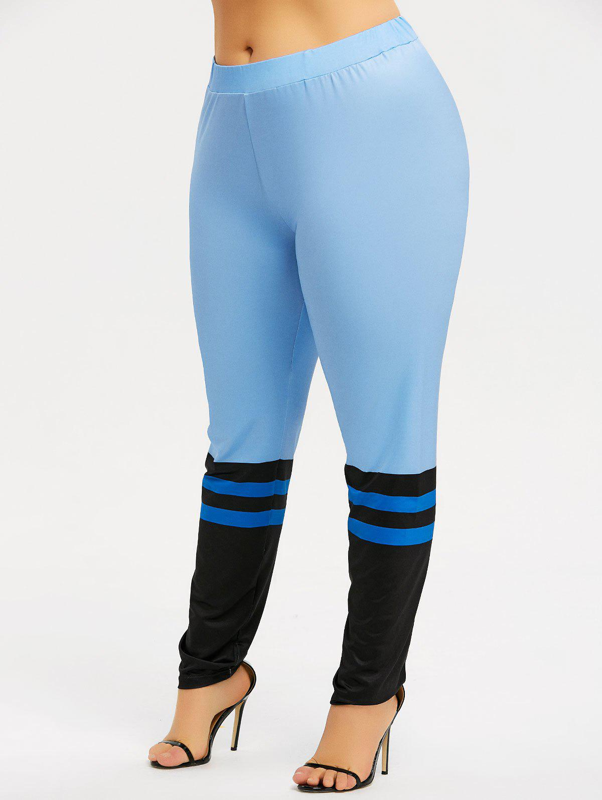 Cheap Plus Size Striped Sports Leggings