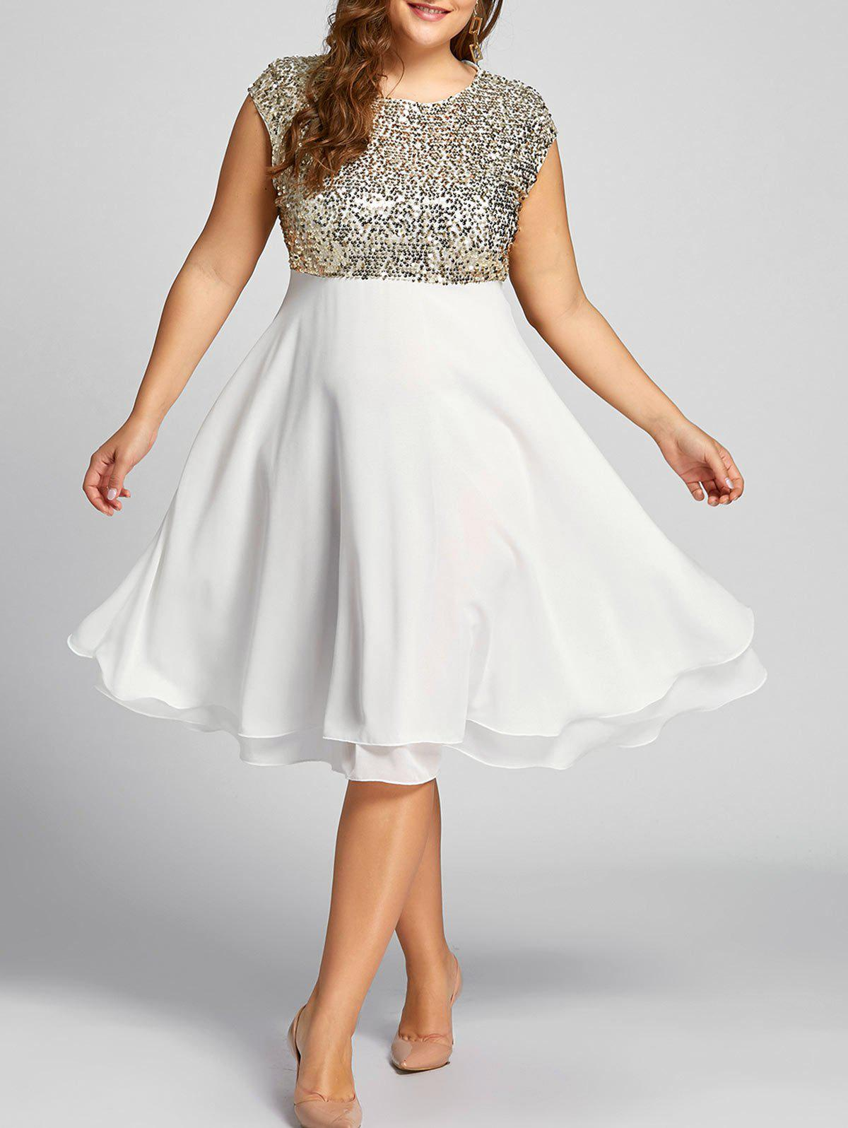 Outfit Flounce Plus Size Sparkly Sequin Cocktail Dress