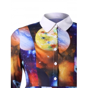 Robe chemise grande taille Galaxy Planet Print -