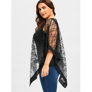 Plus Size See Thru Asymmetrical Lace Overlay Blouse -