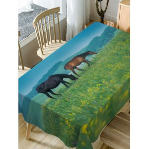 Horses On The Grasslands Print Fabric Waterproof Table Cloth -