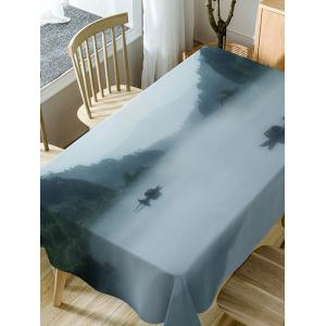 River In Mountains Print Waterproof Dining Table Cloth -