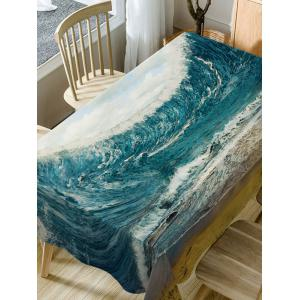 Ocean Wave Print Waterproof Dining Table Cloth -