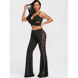 Lace Panel High Waist Flare Pants -