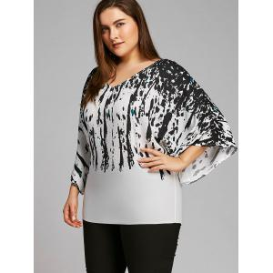 Plus Size Batwing Sleeve Splatter Paint Blouse -