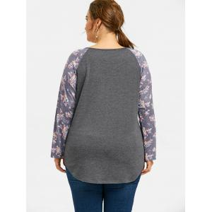 Plus Size Plain Floral Raglan Sleeve T-shirt -