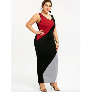 Plus Size Color Block Maxi Tank Dress -