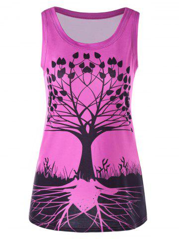 Fashion Tree Pattern Scoop Neck Tank Top