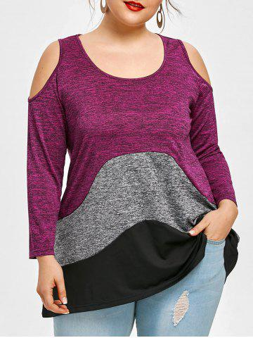 Trendy Color Block Plus Size Cold Shoulder T-shirt