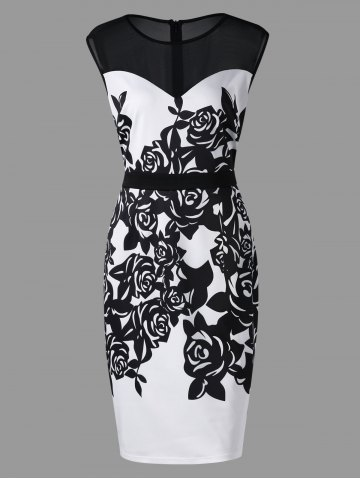 Affordable Plus Size Flower Print Mesh Panel Work Dress