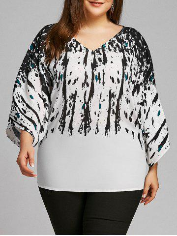 Outfits Plus Size Batwing Sleeve Splatter Paint Blouse