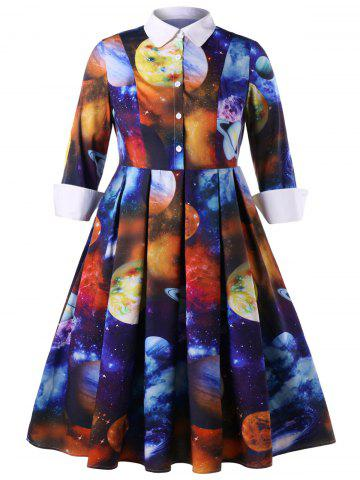 Robe chemise grande taille Galaxy Planet Print
